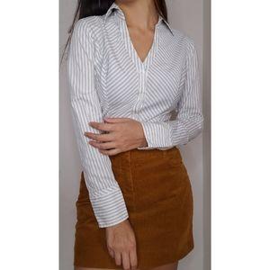 Express white striped blouse